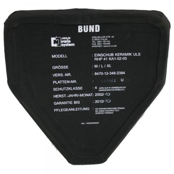 Mehler Unterleibschutz Platte SK4 ULS Schutzweste BW BUND Keramik SEK BFE 2005
