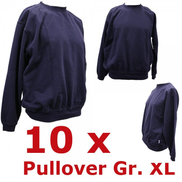 10 x Rettungsdienst Pullover Gr. XL Notarzt Sweatshirt blau Feuerwehr Set Paket