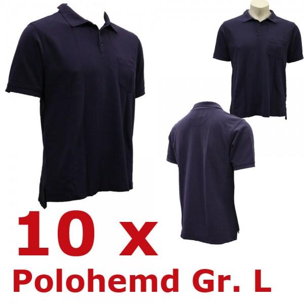 10 x Rettungsdienst Poloshirt Polo Polohemd Gr. L Notarzt blau Feuerwehr THW FW
